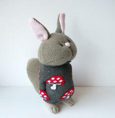 squirrel sock animal  plush animal plushie by TreacherCreatures, $22.00