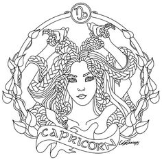 Capricorn Zodiac beauty colouring page