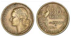 50 francs G. Guiraud 1954 B A/ REPUBLIQUE - FRANÇAISE. Tête de Mariniane à gauche. R/ LIBERTE - EGALITE - FRATERNITE. 50 / FRANCS / (millésime). Coq debout à droite au-dessus d'une branche d'olivier.