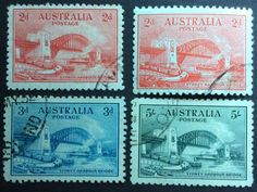 1932 Sydney Harbour Bridge Set 2d Red Engraved & Typo 3d Blue 5/- Green CTO in Stamps, Australia, By Type | eBay!