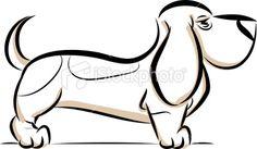 basset hound line drawing
