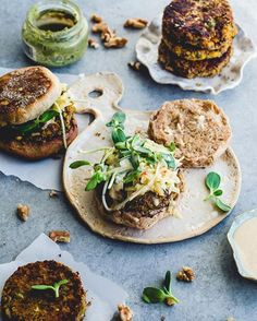 Sweet chickpea and walnut masala burgers from @muddychoux on an #ericksonwoodworks concrete surface.  Thanks Shumaila!