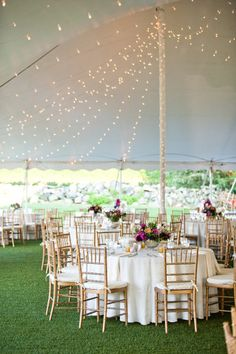 twinkle lights in a reception tent