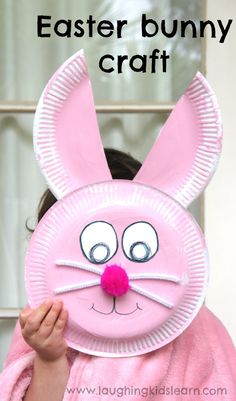 Easter bunny paper plate craft - Laughing Kids Learn