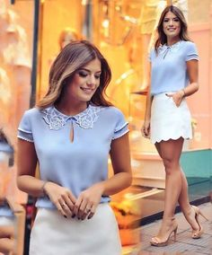 Such a beautiful blue color! A blue blouse paired with ivory short skirt. The whole look is just absolutely feminine and so elegant. Great way to take eyes away from your petite frame and focus them entirely on your outfit! Love Fashion, Girl Fashion, Fashion Outfits, Womens Fashion, Summer Outfits, Casual Outfits, Cute Outfits, Blouse Styles, Blouse Designs
