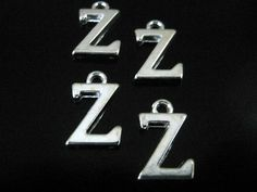 10 Silver Plated Alphabet Letter Z Charms by 2MoonswithCharm on Etsy
