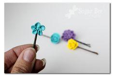 Clay Flower Hairpins