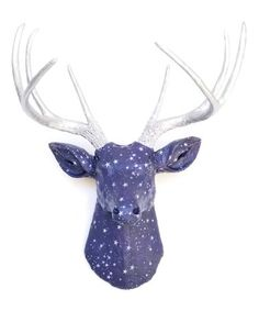 Faux Fabric Deer Head Wall Mount - Dark Blue Star Pattern Fabric With Silver Antlers - Trendy Modern Home Decor Wall Mount - Star Patterns, Fabric Patterns, Faux Deer Head, Deer Mounts, Strong Nails, Galaxy Painting, Faux Taxidermy, Wall Decor, Wall Art