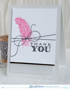 Thank You Card by Betsy Veldman for Papertrey Ink (June 2014)