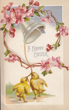 Easter Bell Chicks Vintage Postcard