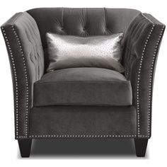 Nicole Charcoal Chair ($700) ❤ liked on Polyvore featuring home, furniture, chairs, accent chairs, dark grey chair, dark gray accent chair, patterned chair, diamond furniture and padded chairs