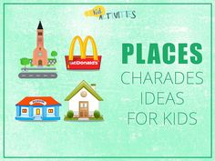 "A list of 101 charades ideas for kids. You will find a list of ""places"" charades ideas as well. Charades Word List, Charades For Kids, Charades Game, Gym Games For Kids, Exercise For Kids, Fun Games, Party Games, First Week Activities, Summer Activities For Kids"