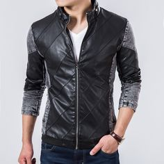 2015 Fall Top Quality Boutique Brand Jeans Jacket Men Slim Fit Male Leather Jacket Casual denim