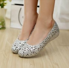 [(My God)] 2014 new summer wedges jelly shoes flat cutout bird's nest bling paillette flower crystal plastic female hole sandals-inSandals from Shoes on Aliexpress.com