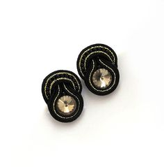 Christmas gift for her small black gold earrings by sutaszula