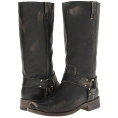 Frye Smith Harness Tall Women's Pull-on Boots, Black ($258) ❤ liked on Polyvore