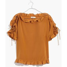 MADEWELL Silk Ruffled Lace-Up Top ❤ liked on Polyvore (see more lace up shirts)
