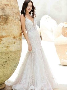 A gorgeous lace mermaid wedding dress for the romantic bride. Lace Mermaid Wedding Dress, Dream Wedding Dresses, Designer Wedding Dresses, Bridal Dresses, Wedding Gowns, Bridesmaid Dresses, Boho Wedding, Sottero And Midgley Wedding Dresses, Sottero Midgley