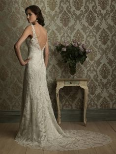 Weddbook ♥ Ivory French lace backless wedding dress with satin back buttons. backless lace ivory summer spring