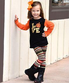 Love this Black & Orange 'Love' Pumpkin Tee & Leggings - Toddler & Girls on #zulily! #zulilyfinds