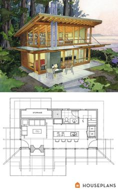 small modern cabin home plan by Peter Brachvogel and Sheila Corroso 800sft Houseplans plan #479-12