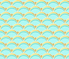 Deco Fan Pattern Mint and Gold by suzzincolour