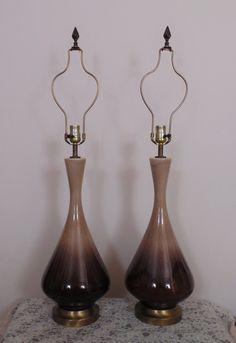 Pair Mid Century Modern Drip Glaze Pottery Table Lamps Retro Eames Era by CoyoteMoonAntiques on Etsy https://www.etsy.com/listing/266708795/pair-mid-century-modern-drip-glaze