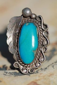 Vintage Southwestern Tribal Sterling Silver Turquoise Ring | eBay