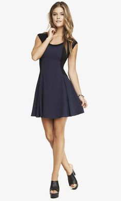 MIXED FABRIC FIT AND FLARE DRESS | Express