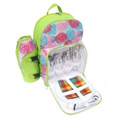 PicnicHappy Picnic Backpack for 4 Person, Green cute design, with wine holder, Plates, Cutlery Set