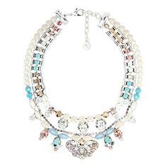 REMINISCENCE   White, Light Blue and Lilac Crystal Necklace