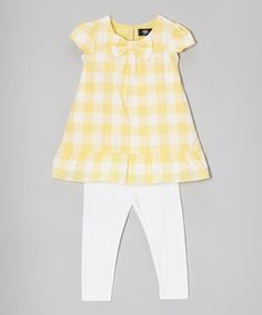 Another great find on #zulily! Yellow & White Gingham Tunic & Leggings - Infant, Toddler & Girls #zulilyfinds
