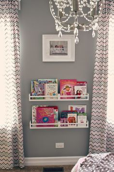 all things DIY: room reveal ~ girl's bedroom on a budget- IKEA spice rack bookshelf. Who says it can't be MY room? Ikea Spice Racks As Book Shelves, Spice Rack Bookshelves, Bookshelves Kids, Book Storage, Storage Ideas, Bookshelf Storage, Wall Shelves, Cube Shelves, Shelf Ideas