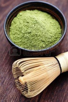 Japanese matcha powder and a bamboo whisk