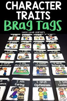 Teach your students about character traits through these brag tags!  The brag tags included in this set are:  I Use Teamwork, I Express Empathy, I Have Integrity, I Have Courage, I Have Optimism, I Show Kindness, I Show Respect, I Have Perseverance, I Am Responsible, I Am Honest, I Am Caring, I Am Confident, I Am Fair, I Use Cooperation, I Have Determination, I Have Self-Control, I Show Compassion, I Show Leadership, I Am Ambitious, and I Am Thoughtful