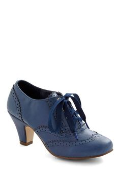 Dance Instead of Walking Heel in Blue - Blue, Solid, Vintage Inspired, 20s, 30s, Lace Up, Mid, Exclusives, 60s, Winter, Top Rated