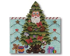 "Needlepoint Santa roll up! - Stitch this Christmas tree Santa and roll him up as an ornament or stand up piece. design: 7"" x 7"" 18 mesh $56.00"
