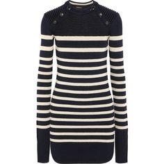 Isabel Marant Haeza striped merino wool-blend mini sweater dress,... ($940) ❤ liked on Polyvore featuring dresses, sweater dress, short mini dresses, navy dress, striped mini dress and mini dress