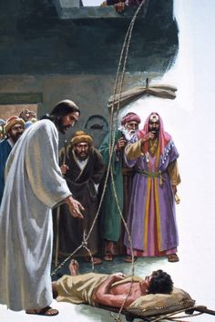 When Jesus taught in Capernaum, some men wanted Him to heal their paralytic friend. Being crowded, they climbed on the roof, and lowered the friend's bed before Christ. Jesus Our Savior, Jesus Lives, God Jesus, Bible Pictures, Jesus Pictures, Christian Images, Christian Art, Jesus Forgives, Religion