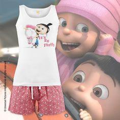 Alles ist so #flauschig, farbig und schön! Die #Minions bescheren dir mit der #Nachtwäsche #Fluffy Girl richtig schöne Träume. Die süße #Agnes trampelt mit ihrem #Einhorn über das Top des #Pyjama-Sets. Die #Shorts zeigen ein kunterbuntes und fröhliches Muster.