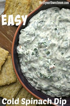 Easy To Make Cold Spinach Dip Recipe! If you are looking for a great appetizer to serve up? This Easy to make cold spinach dip recies is one that is not only de Cold Appetizers, Appetizer Dips, Appetizer Recipes, Holiday Appetizers, Simple Appetizers, Italian Appetizers, Snacks Sains, Cooking Recipes, Healthy Recipes