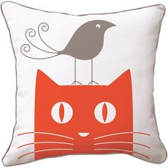 Cat and Bird Pillow