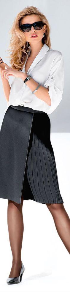 Madeleine skirt and silk blouse