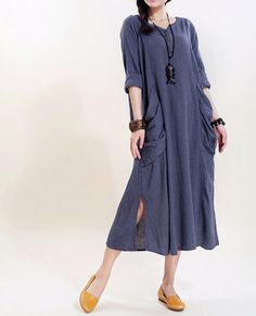 Simple big pocket linen long sleeved dress/ Cotton Long dress/ Plus size maxi dress