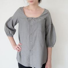 Recycled  Upcycled man's shirt gray  US 6 / EU by machemisedhomme