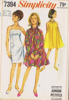 VINTAGE TENT DRESS SEWING PATTERN 60s SIMPLICITY 7394 SIZE 6 BUST 31 HIP 33 CUT | eBay