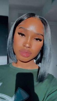 Slick Hairstyles, Black Girls Hairstyles, Wig Hairstyles, Pretty Black Girls, Beautiful Black Women, Natural Makeup, Black Girl Makeup Natural, Fall Makeup Looks, Let Your Hair Down