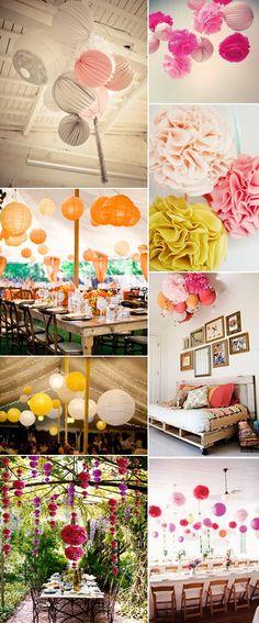 #Pompones para adornar #fiestas y #bodas