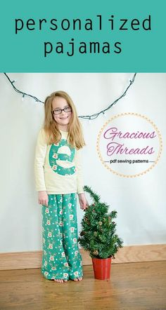 Personalized Pajamas for Christmas! Love this DIY Holiday idea. Looks like an easy sew.