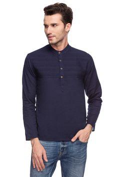 a104ef07 Shatranj Men's Indian Band Collar Navy Henley Shirt Short Tunic Kurta With  Pin-tucks 2